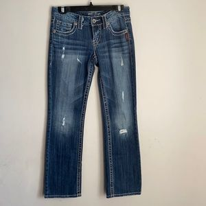 Silver jeans Lola 17'' 25x31 low rise holes